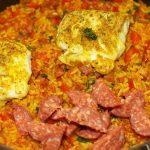 Paella met kabeljauw en chorizo 2