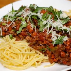 Pasta met vegetarische Ragu 50