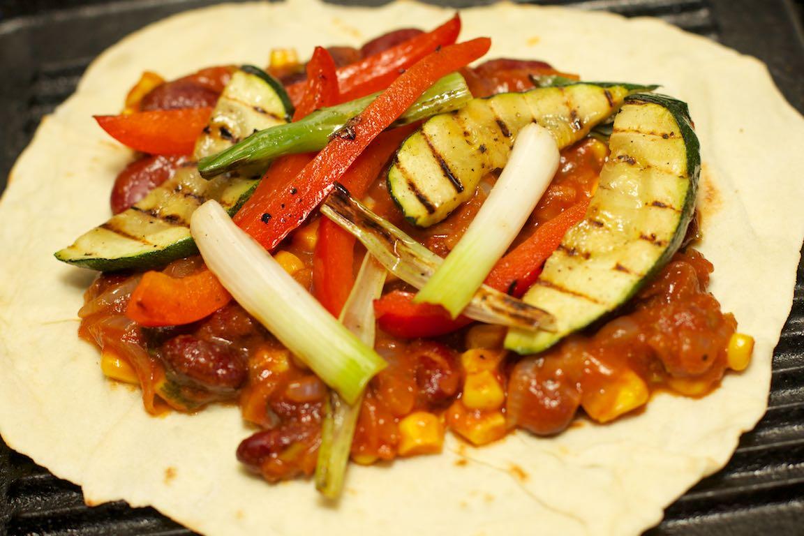 Vegetarische wraps met gegrilde groente