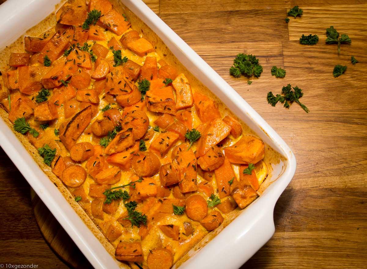 Ovenschotel met pompoen en wortel