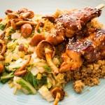 Quinoa met roerbakgroenten en kipspiesjes-55